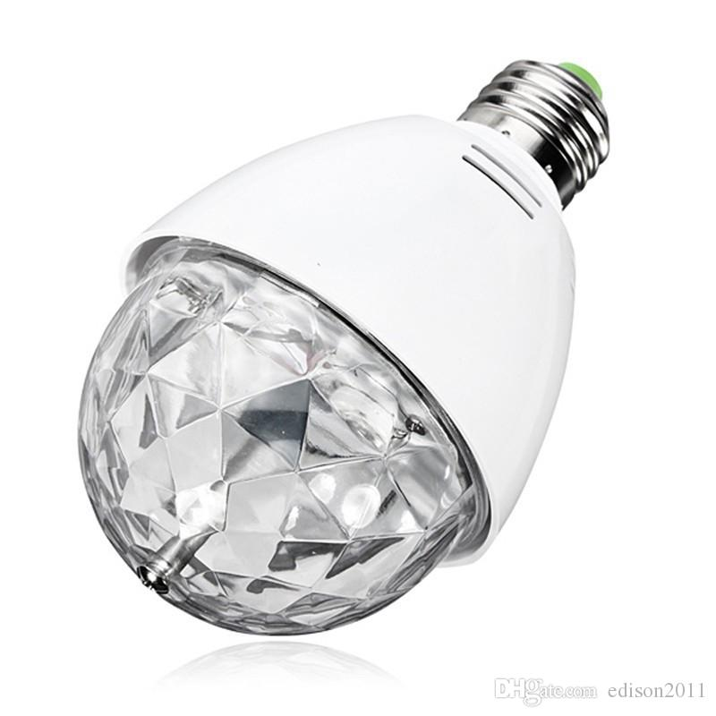 Edison2011 새로운 3W E27 B22 RGB 조명 풀 컬러 LED 크리스탈 무대 조명 자동 회전 무대 효과 DJ 램프 미니 무대 전구