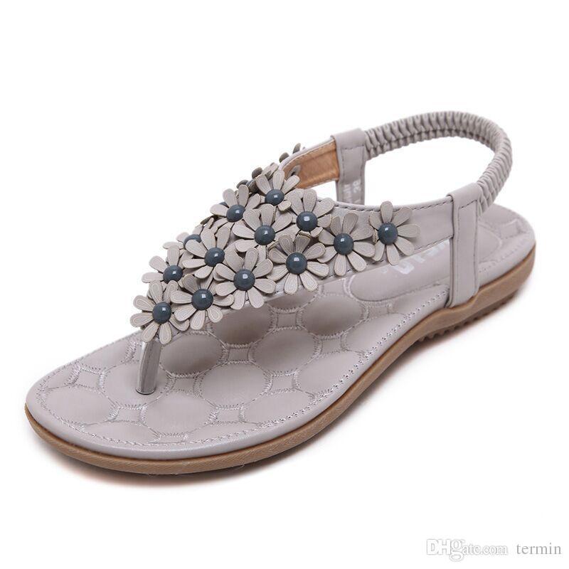 0c5d2bee45d Big Size Women Sandals Shoes Bohemia Flower Summer Women Shoes Slip ...