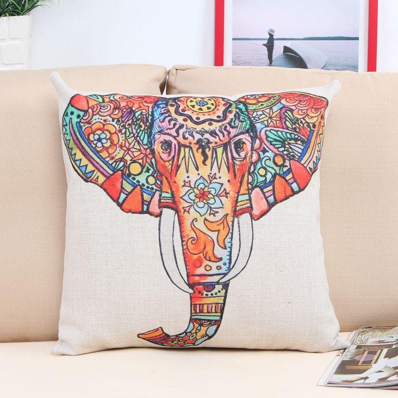 Cushion Cover Colorful Animal Elephant Giraffe Home