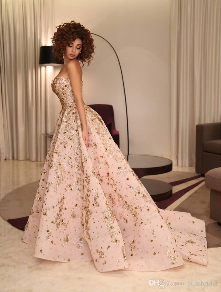 Lebanon Singer Syriam Fares Same Style Princes Prom Dresses Sexy Applique Puff Formal Evening Gown Sweep Train Backless Formal Party Dress