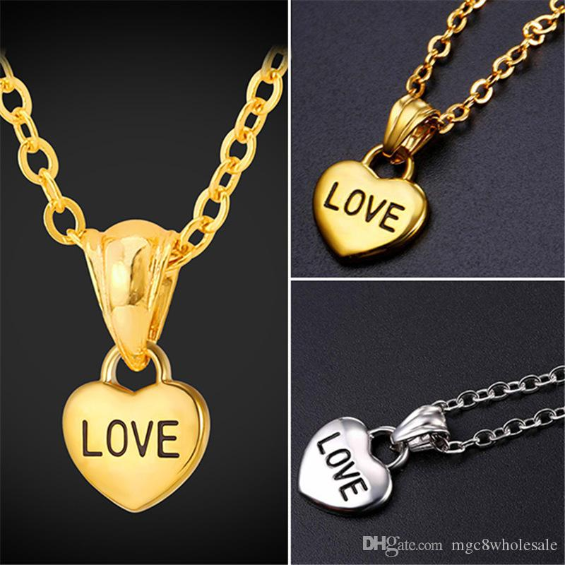 Wholesale U7 Love Piece Heart Key Pendant Necklace For Women Fashion Gold  Plated Stainless Steel Jewelry Perfect Romantic Accessories GP2492 Circle  Pendant ... 7d3fcbe61a72