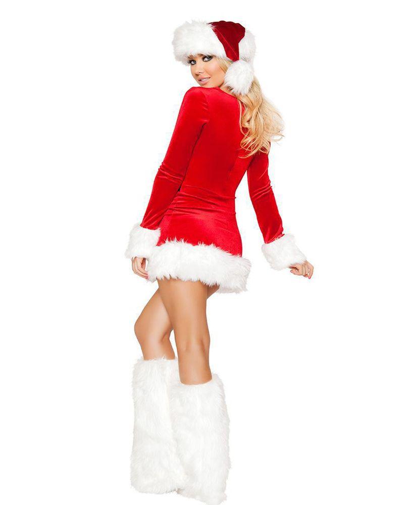 Mme Mlle Père Noël Cosplay Costume Femmes Sexy Rouge À Manches Longues Décolleté Mini Robe Festival De Noël Mascarade Outfit