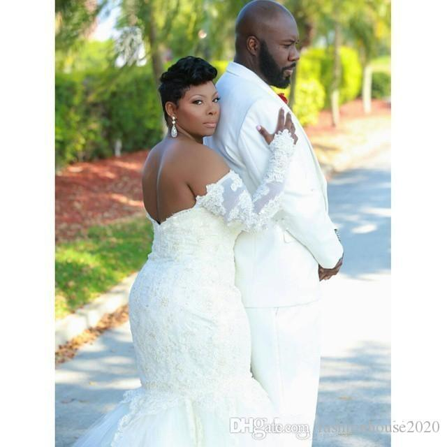 2017 African Cheap Mermaid Wedding Dresses Off Shoulder Illusion Long Sleeves Lace Appliques Beaded Tulle Backless Plus Size Bridal Gowns