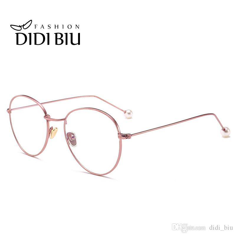 Didi Small Round Clear Eyeglass Frame Pearl Rose Gold Retro Thin