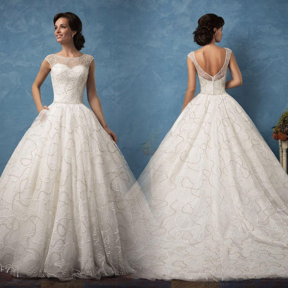 Gelinlik Luxury Ball Gown Wedding Dresses 2017 Sheer Neck Beading ...