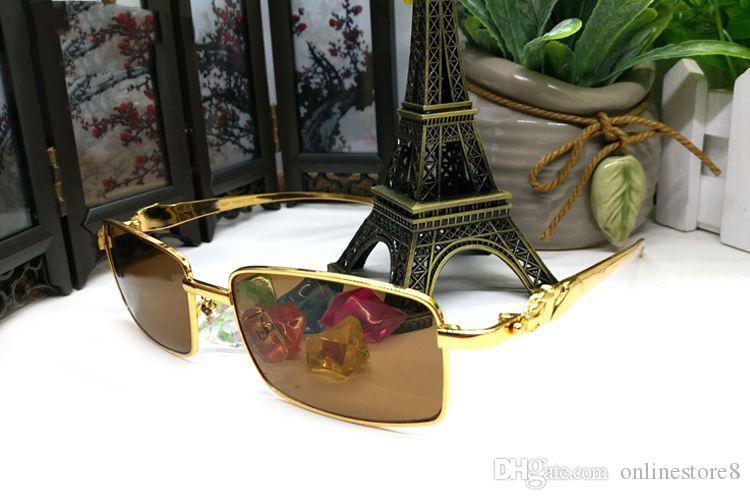 Fashion gold retro frames sunglasses for men luxury leopard brand designer sun glasses buffalo eyewear with original box