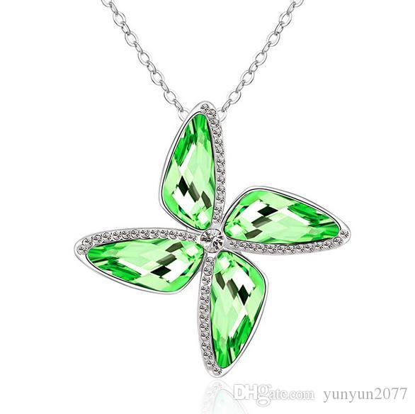 Sale High-grade Austrian Crystal Wedding Bride Rotate Windmill Pendants Real Gold Charm Chokers Necklaces Fine Jewelry Accessories For Women