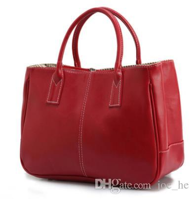 Colors women leather tote handbag fashion Brand Genuine Leather Plain designer candy color casual shoulder bag for Zipper women