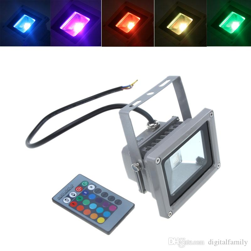 야외 RGB LED 홍수 빛 진짜 높은 전력 10W 20W 30W 50W 100W 투광 조명 전구 방수 IP66 램프 원격 제어 휴일 조명