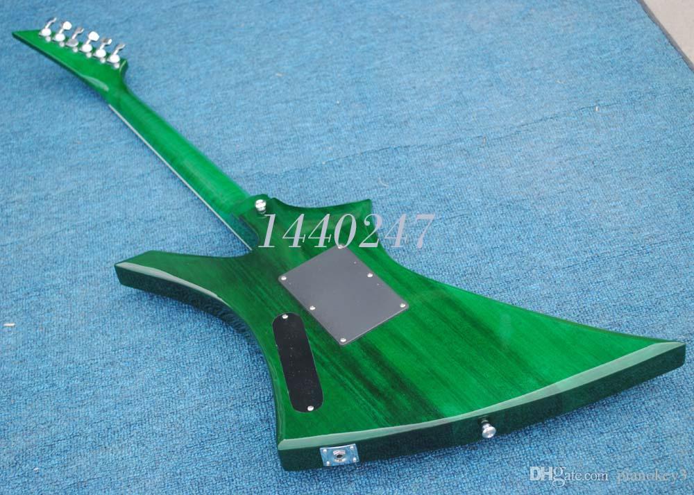 متجر مخصص الغيتار ، الأخضر الأعلى القيقب اللهب ، اللهب القيقب الرقبة ، صنعت الصين القيثارات الكهربائية