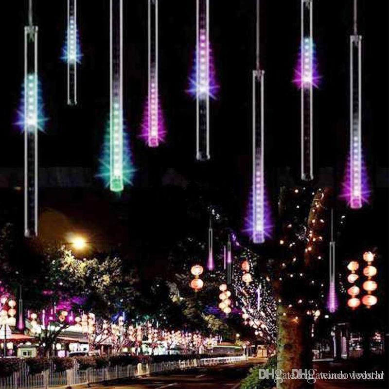 20cm 30cm 50cm meteor shower string 8 tubes waterproof led christmas lights ac 100 240v for wedding garden lighting string lamp outdoor light string from