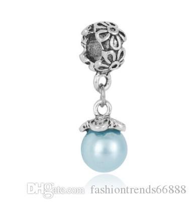 Fits Pandora Charm Bracelet Fashion White Pearl Pendant Beads Sterling Silver Dangle Loose Charms For Diy European Snake Charm Chain B3