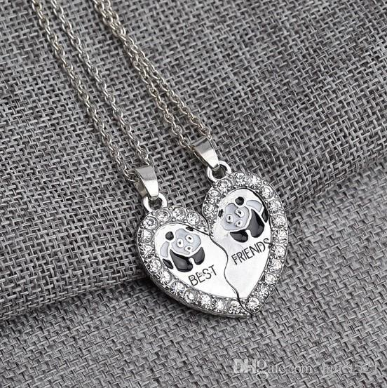 Best Friends Panda Necklace Set Silver Plated Rhinestone Embellished Necklaces Gift Idea Unique Jewelry Chokers Necklaces