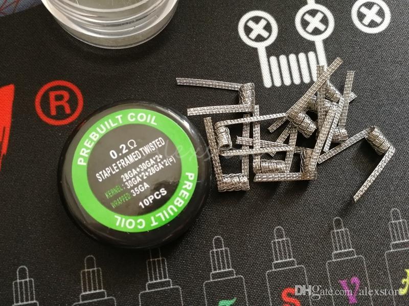 Bobine fusionnée tordue agrafée Agrafe agrafée prémontée de fils prémontés de fils prémontés d'enroulement de fils 0.15ohm 0.2ohm 4types / box vape