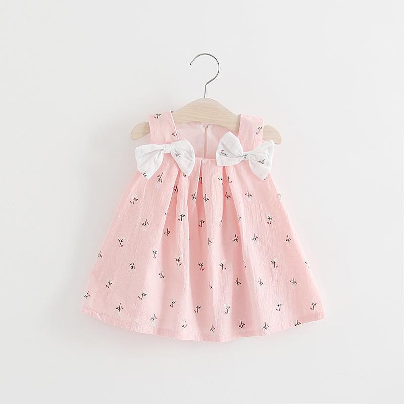 Ребёнки плеча лук Подтяжки платье лето малышей Бутики одежда корейский 1-4T ребёнка Печать Suspender платье Cute