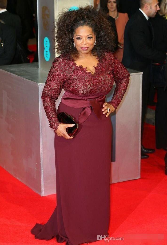 Red Carpet Plus Size Borgogna Madre della Sposa Abiti Oprah Winfrey V-Neck manica lunga Sweep treno Abiti da sera Fat Abiti da festa delle donne
