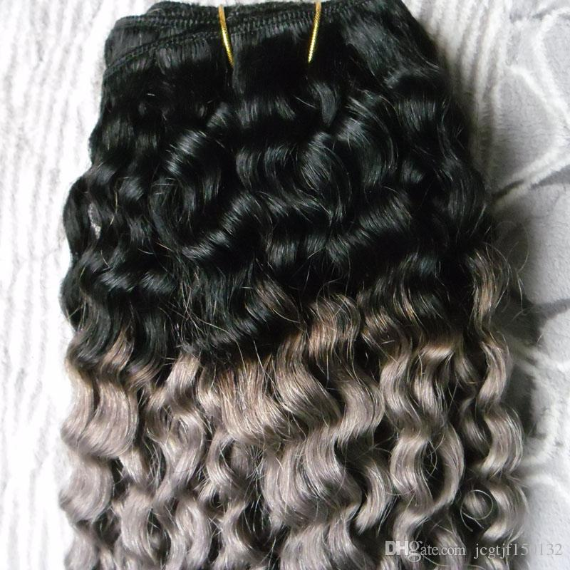 T1B/Gray ombre brazilian hair deep wave 100g grey hair weave bundles brazilian hair weave bundles double weft quality,no shedding