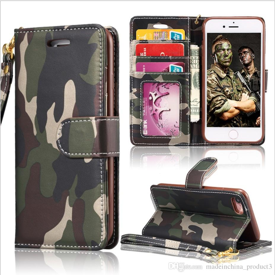 huge selection of 71337 0d4f8 Cool Military Camouflage Wallet Phone Case for iPhone X Camo Card Slot Flip  Cover for Apple iphone 8 7 Plus 6 6s Plus