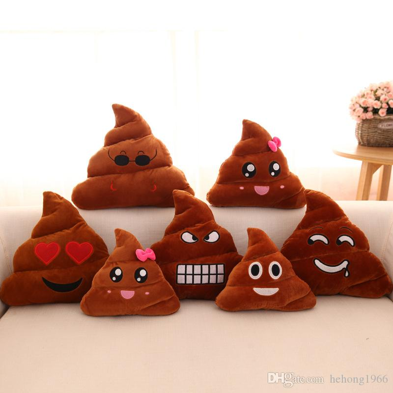 Engraçado Emoji Pillow bonito Merdas Poop Stuffed Toy Dolls Almofada QQ Expressão Plush Bolster criativa Almofadas Home Decor Christmas Gift 4xx KK