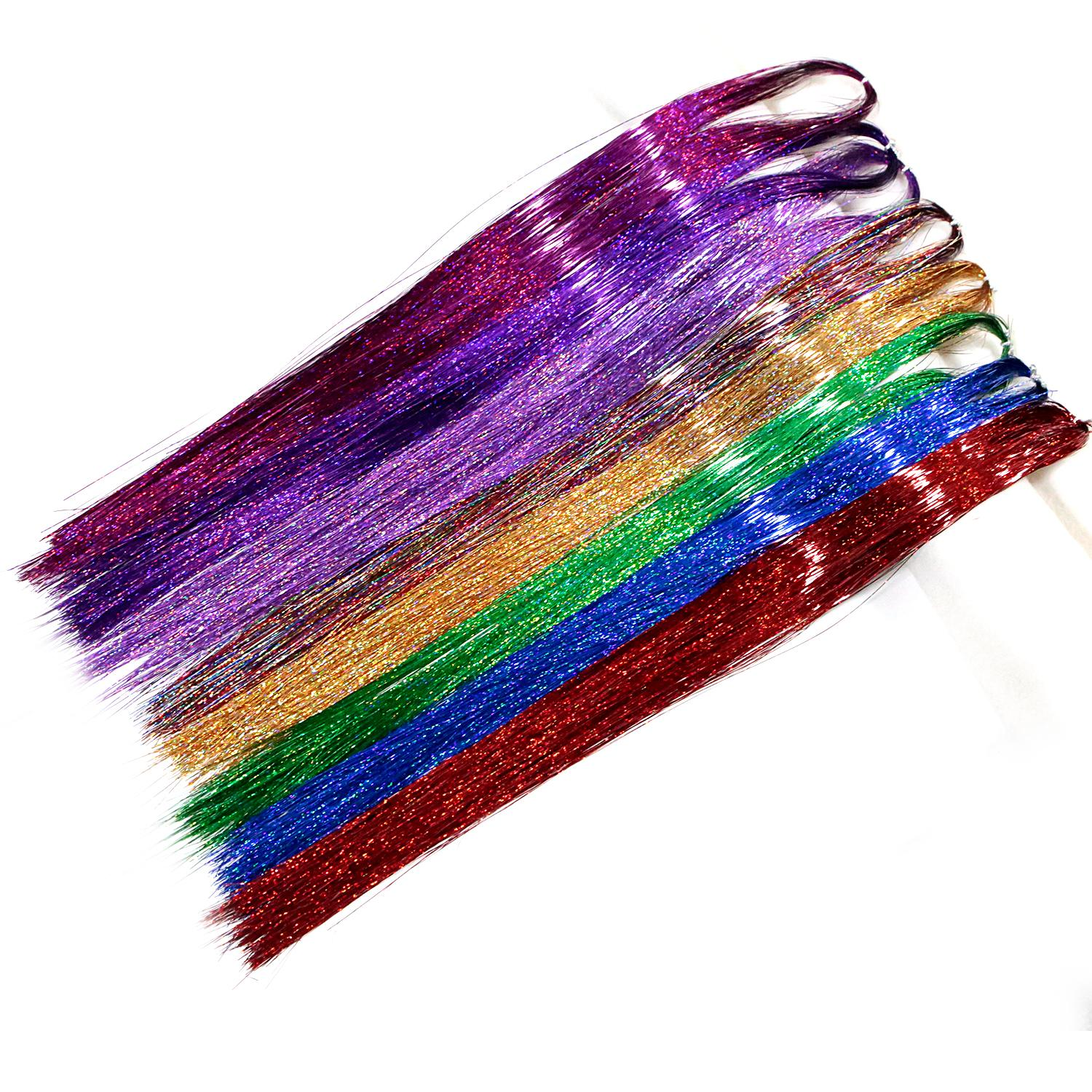 New Arrival Neitsi 35 1120 Strands Pack Straight Hair Tinsel Sparkle Glitter Twinkle Rainbow Colors Festival For Party Cosplay