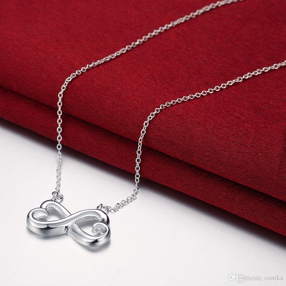 Hot Sale 925 Sterling Silver Bowknot Charms Pandent Necklace/Chain Fashion 18inch Jewelry Good Quality N148