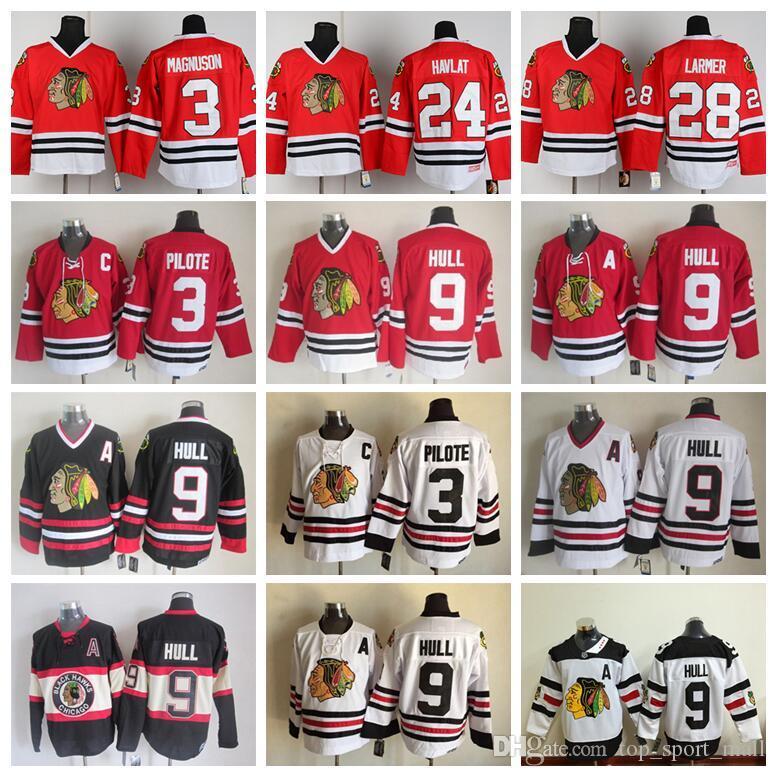 1e02072f4 2019 Men 9 Bobby Hull Jersey Hockey Chicago Blackhawks Vintage CCM 3 Pierre  Pilote 24 Martin Havlat 28 Steve Larmer Red White Black From  Dickssportinggoods