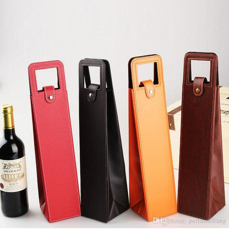 Luxury Portable Pu Leather Wine Bags Red Wine Bottle