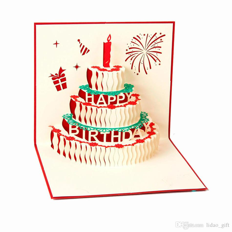 Paper Spiritz Birthday Cake With Candle 3d Pop Up Post Card Handmade