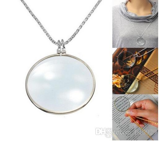 6x Magnifier Pendant Necklace Magnify Glass Reeding Decorative Monocle Necklace WorldbusinessGold,Silver