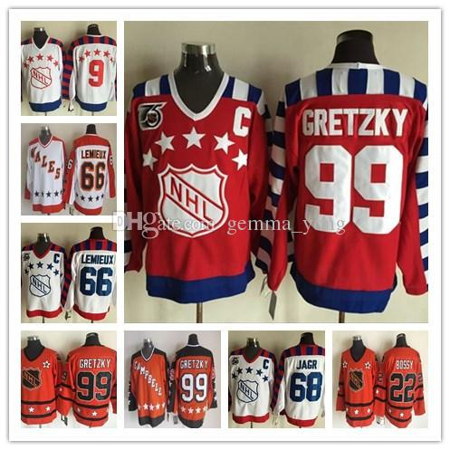 reputable site e699c 22a9e Fashion Retro ALL Star Hockey Jerseys 66 Mario Lemieux 99 Wayne Gretzky 22  Mike Bossy 68 Jaromir Jagr 9 Mike Modano Jersey Cheap