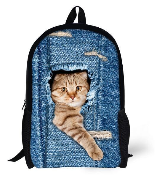 Çocuk Okul Çantaları Sevimli 3D Kedi ve Köpek Sırt Çantası Çocuk Erkek Kız Bookbag Omuz Çantaları Sırt Çantaları