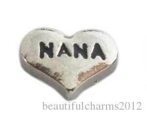 7b559eff9 2019 Wholesale DIY Alloy NANA Charm Silver Heart Floating Locket Charms Fit  For Glass Magnetic Locket Pendant From Beautifulcharms2012, $1.03    DHgate.Com