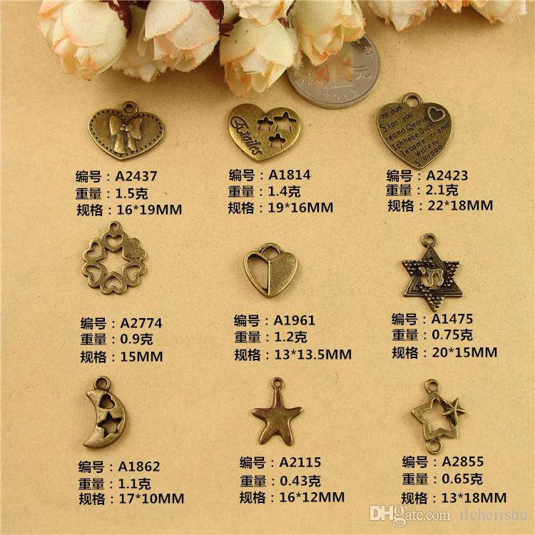 DIY jewelry material ancient bronze Pentagram retro love moon heart-shaped pendant, David star heart charms connector bowknot word message