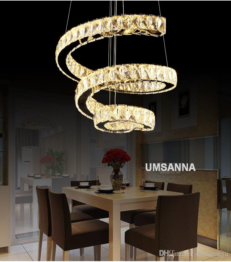 LED Modern Crystal Pendant Lamps Dimmable Spiral Pendant Lights Fixture Dimming Hanging Lamp Cafes Hotel Villa Home Indoor Lighting