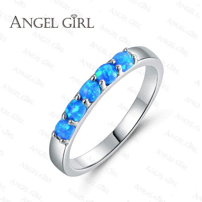 angel girl simple ring round white pink bluewhite fire opal rings for women trendy engagement wedding jewelry anillos r74 60912 engagement rings wedding - Girl Wedding Rings