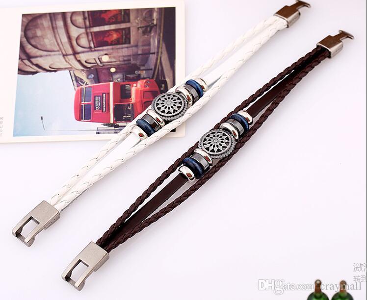 Il nuovo braccialetto in pelle di vacchetta da uomo con un braccialetto in pelle intrecciata vintage due colori può scegliere la spedizione gratuita