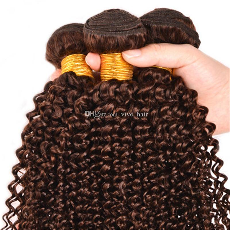 Light Brown Indian Kinky Curly Virgin Hair Weaves #Chestnut Brown Curly Human Hair Bundles Extensions Dhl Free
