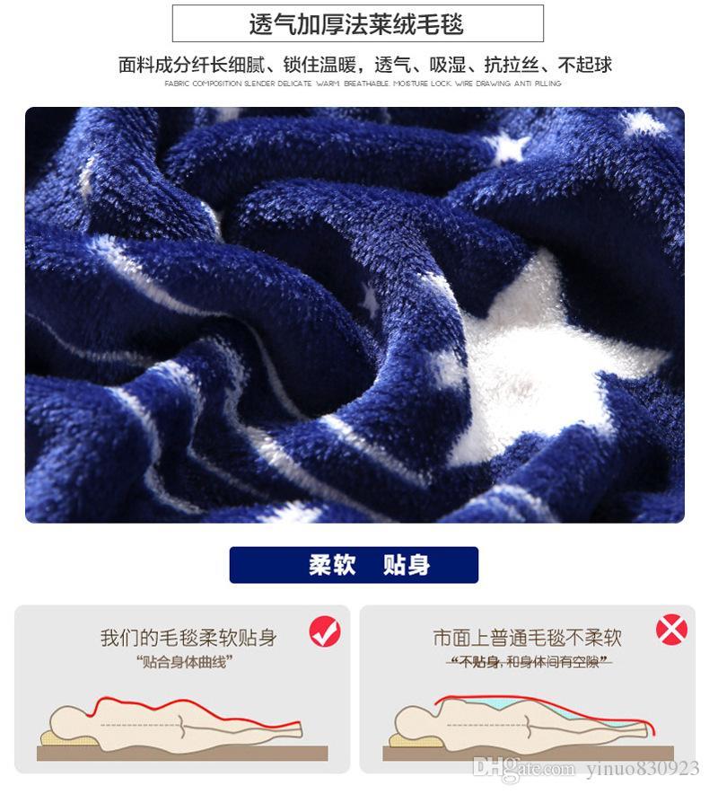 Drop shipping Accueil Textile Fashion couvertures en molleton de corail sur le lit Supre étoiles bleues douces Couverture Plaids Manta