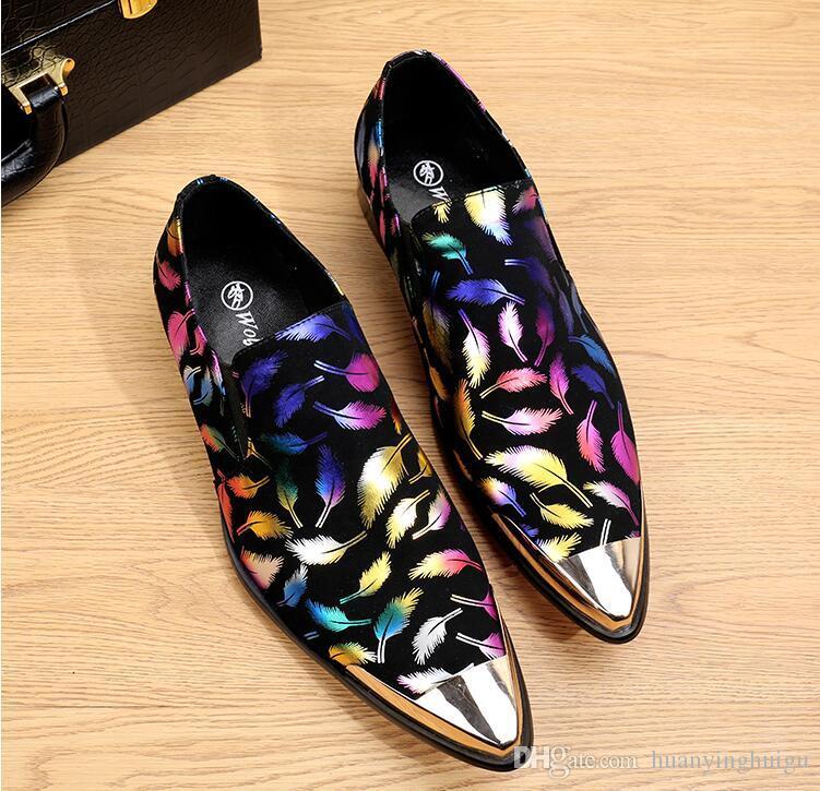 Scarpe casual moda uomo scarpe maschili slip-on in vera pelle paillettes scarpe discoteca t-shows scarpe da sposa personalità AXX282