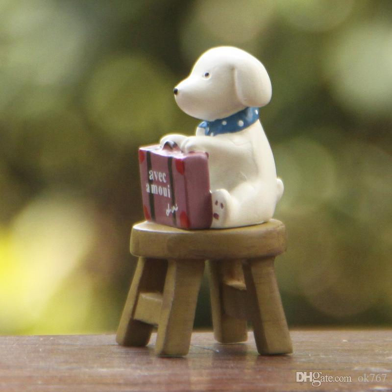 Dog Siting Mini Statue Fairy Garden Miniatures Resin Craft Terrarium Figurines Tonsai Tools Gnomes Zakka Home Accessories