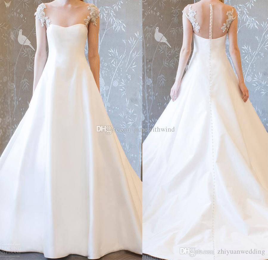 Beaded Cap Sleeves A Line Simple Wedding Dresses 2018 Semi ...