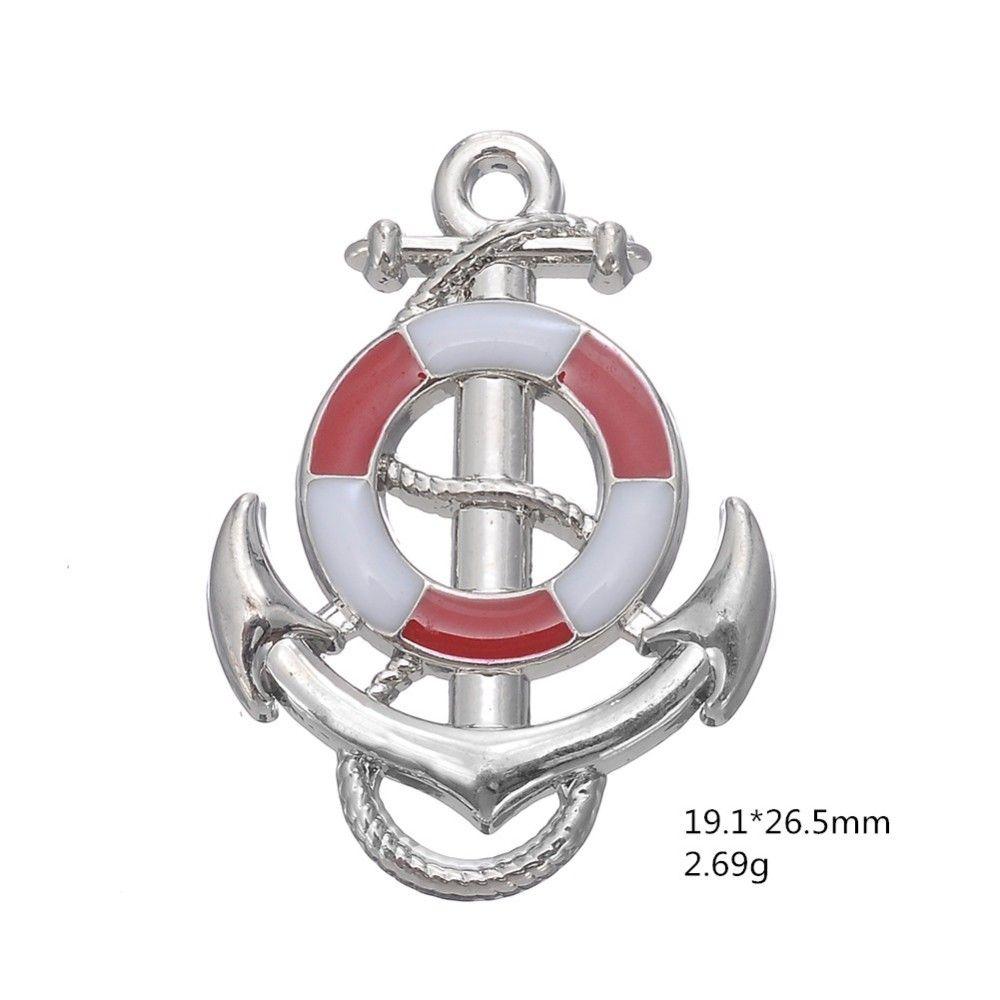 Blaues Rosa-Schiffs-Rad mit Anker-nautischem Charme-Anhänger-passendem Armband, das Männer Schmuck für Seeforscher herstellt