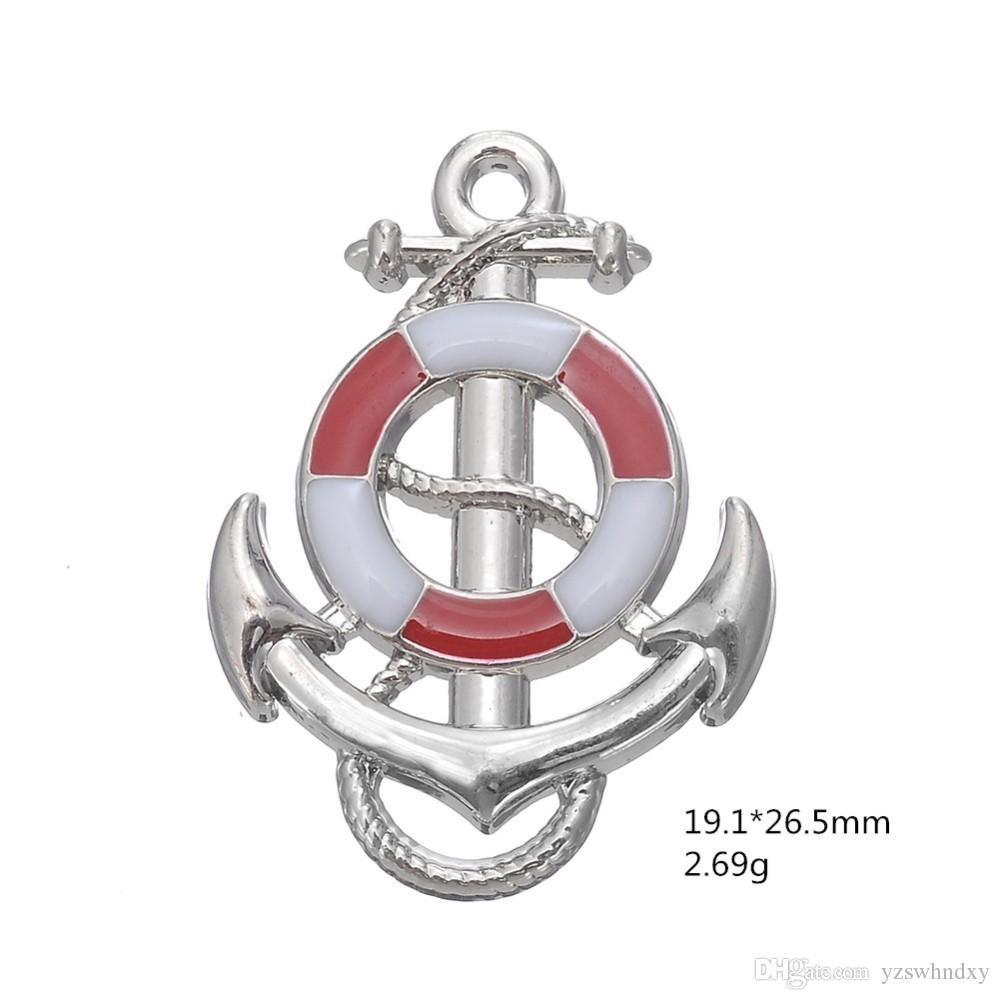 Blue Pink Ship Wheel With Anchor Nautical Charm Pendant Fit Bracelet Making Men Jewelry For Maritime Explorer
