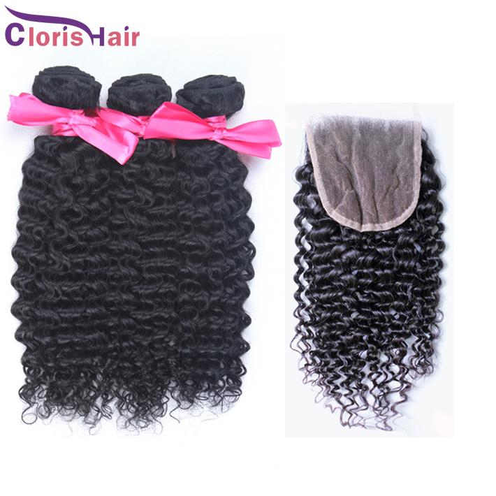 Top Kinky Curly Peruvian Hair Bundles With Lace Closure Cheap Afro