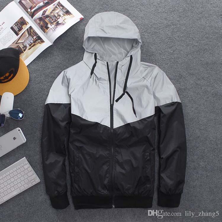 Livraison gratuite hommes veste automne patchwork veste réfléchissante sport hip hop extérieur coupe-vent imperméable hommes manteau tendance