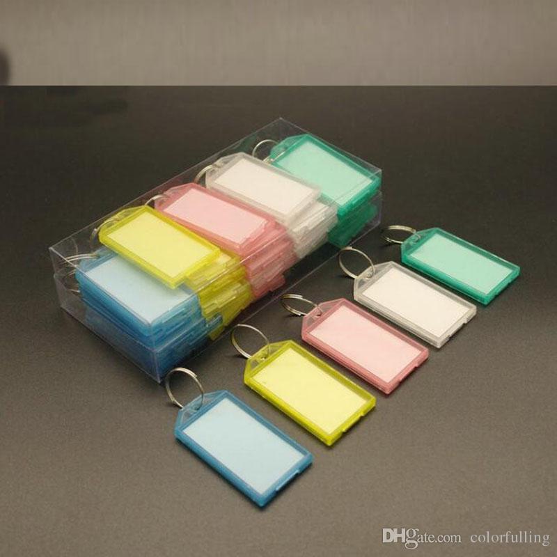 Novo Anel de Metal Colorido Chave De Plástico Berloques Fobs Etiqueta de Identificação do Cartão de IDENTIFICAÇÃO Etiqueta Tag Chaveiro Chaveiro Classificação Chaveiro