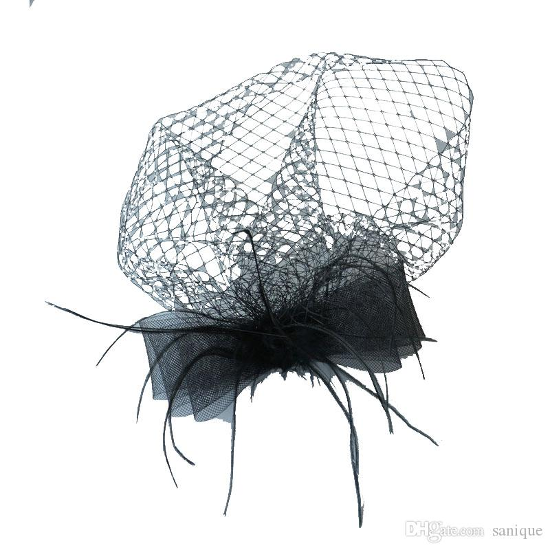 Дешевые Бесплатная доставка горячая продажа черный птица клетка чистая свадьба для новобрачных чародей шляпы лицо вуаль Слоновой Кости Черный цветок для партии аксессуар