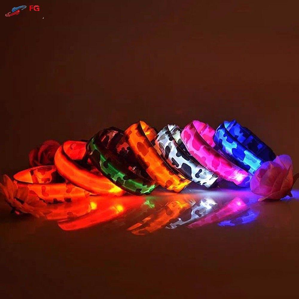 2.5cm Width 4 Sizes Dog LED Collar Nylon Camouflage Night Safety LED Flashing Pet Dog Necklace Collar