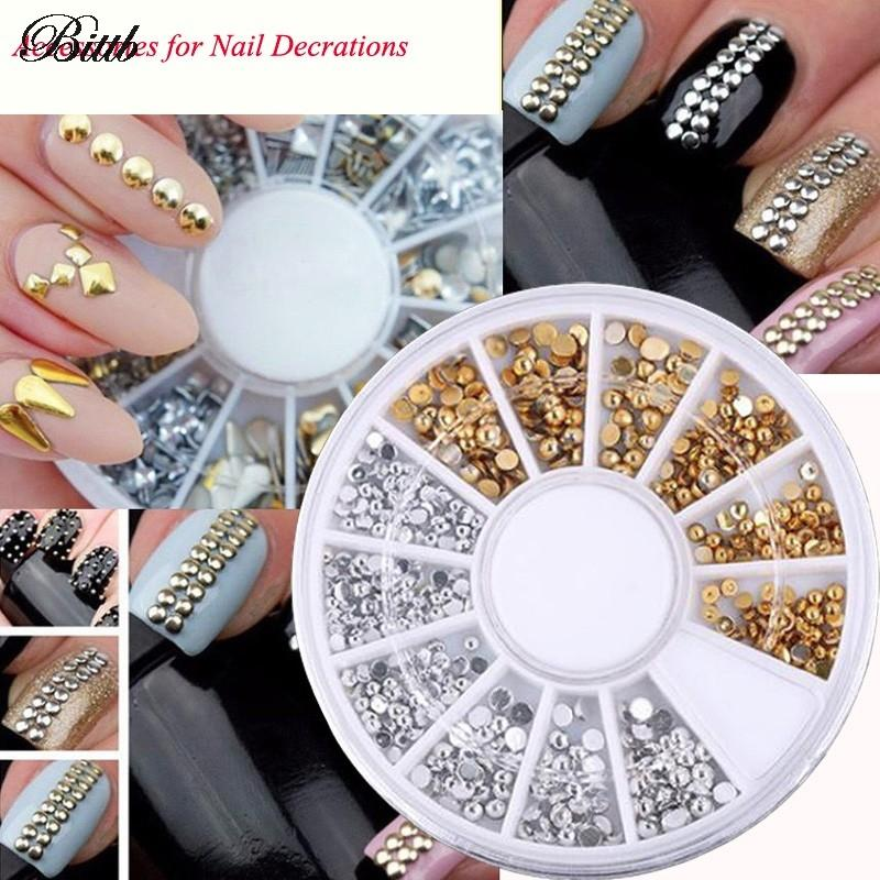 Bittb Gold Silver Color Nail Decoration Rivet Stars Rhomb Triangle ...