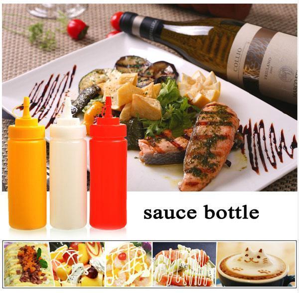 Squeeze BBQ sauce bottles Condiment Dispenser Cruet salad Ketchup Mustard Vinegar baking tools Edible Plastic 24OZ 680ml cover wn090